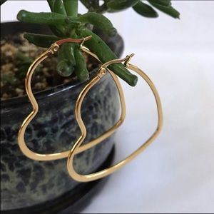 Heart Hoops Earrings Gold Tone French Clip Back
